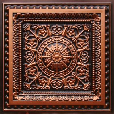# 223 - Antique Copper 2'x2' PVC Faux Tin  Decorative Ceiling Tile Glue Up/Grid