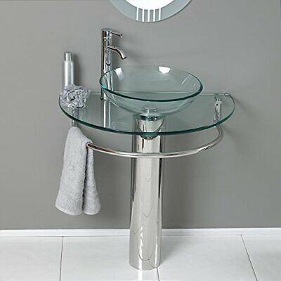 """30"""" Bathroom Vanities LV-006 Glass Vessel Sink Pedestal Faucet and Pop up combo"""