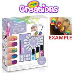 NEW CRAYOLA CREATIONS NAIL ART KIT 186119268 FINGERNAIL MARBLING AND SPARKLE SET