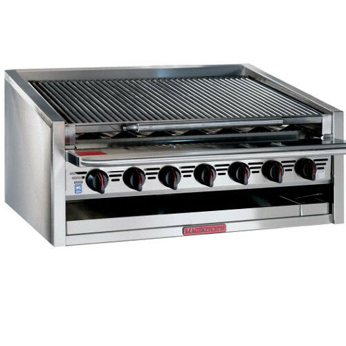 "Magikitchn Apm-rmb-648 48"" Gas Countertop Charbroiler W/ Stainless Steel Radiant"