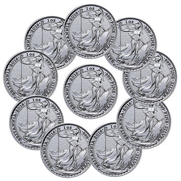 Lot of 10 - 2016 Great Britain 2 Pound 1 Troy Oz Silver Britannia Coins SKU38068