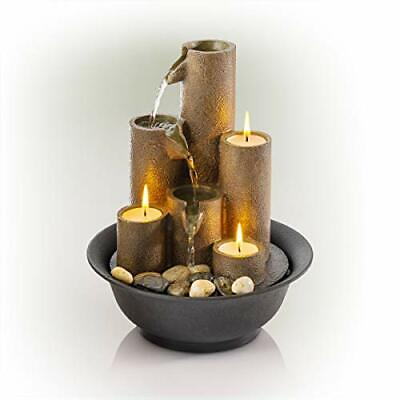 Alpine Corporation WCT202 Tiered Column Tabletop Fountain w/ 3 Candles 11 Inc...