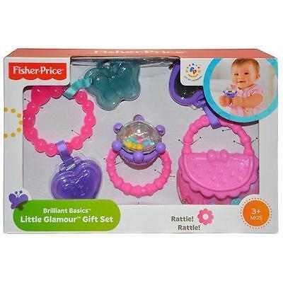 Fisher-Price Brilliant Basics Little Glamour RATTLE  Gift Set of 3 Baby teethabe
