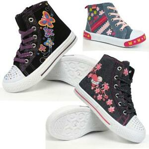 GIRLS-HI-TOPS-TRAINERS-INFANTS-KIDS-FANCY-CANVAS-ANKLE-HIGH-TOP-BOOTS-SHOES-SIZE