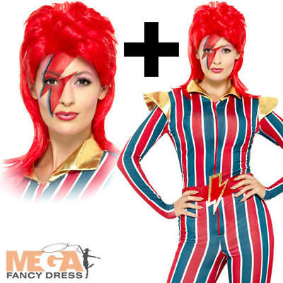 Miss Space Superstar + Wig Ladies Fancy Dress 1980s David Bowie Adults Costume (David Bowie Fancy Dress Kostüme)