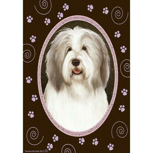 Paws House Flag - Fawn and White Bearded Collie 17483