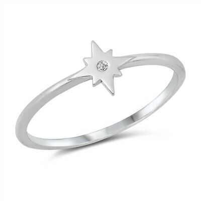 NEW! 925 Sterling Silver Twinkle Star White CZ Design Band Ring Sizes -