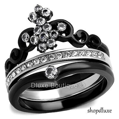 WOMEN'S ROUND CUT CZ BLACK STAINLESS STEEL CROWN WEDDING RING SET SIZE - Crown Cut Ring