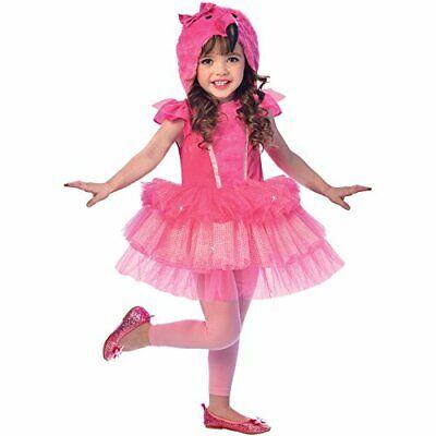 Amscan Mädchenkostüm Flamingo Verkleidung Hoodie Kleid Kinderkostüm Gr.4-6 Jahre