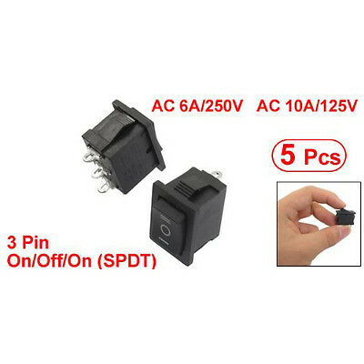 5pcs Spd Onoffon Mini Black 3 Pin Rocker Swich Ac 6a250v 10a125v Ad