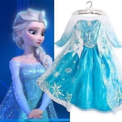 Girls Frozen Elsa Princess Dress Kids Snow Queen Party Costume Dress Accessories - Party Dresses Girls