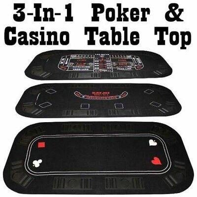 3 IN 1 Casino Holdem Poker Blackjack Craps Folding Table Top - Blackjack Table Top