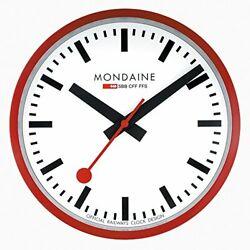 Mondaine A990.CLOCK.11SBC Wall Clock White Dial Red Frame, Quartz