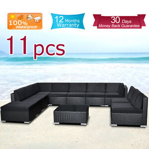Wicker-Rattan-Garden-Set-Indoor-Outdoor-Sofa-Lounge-couch-Setting-Furniture-11PC