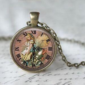 UK ALICE IN WONDERLAND PENDANT NECKLACE Vintage Style Jewellery Gift Idea Clock