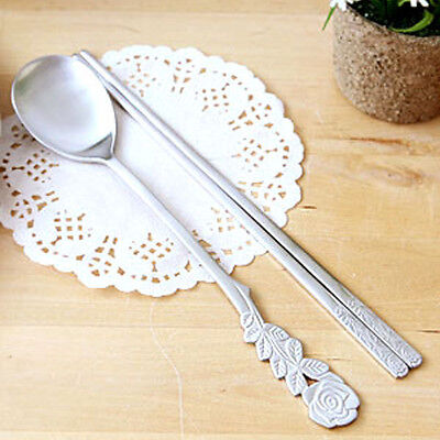1 Set Rose Spoons Chopsticks Set Stainless Steel Cute Chopstick Korean Japanese