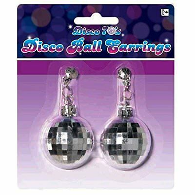 Amscan Swinging 70's Fashion Silver Disco Ball Earrings