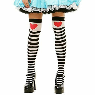 Striped Thigh-High Hearts Halloween Adult Women's Cosplay Costume Tights - Halloween Striped Tights
