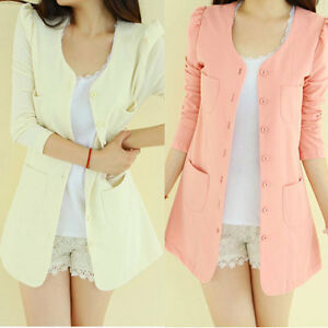Candy-Color-Womens-Casual-slim-Tunic-sleeve-Blazer-Jacket-Coat-Cardigan-Suit