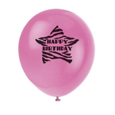 8 ZEBRA PASSION  Birthday Party Supplies Latex BALLOONS 12