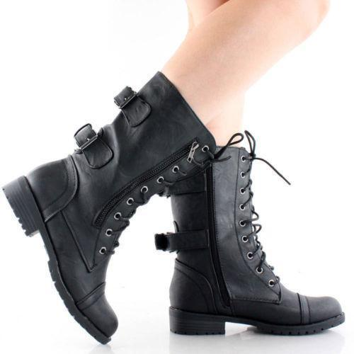 Model Womens Ankle Boots Rugged Lace Up High Heel Shoes Black - Pricefalls.com Marketplace