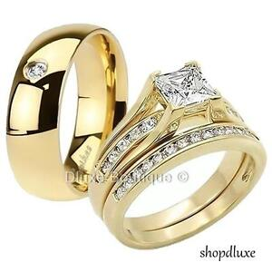 HIS HERS 3 PIECE MENS WOMENS 14K GOLD PLATED WEDDING ENGAGEMENT RING BAND SET