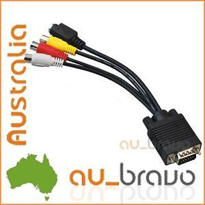 PC VGA SVGA to 3 RCA S-Video TV AV Adapter Converter Cable