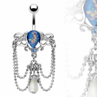 1pc Blue Opal Look Chandelier Bead Dangle Belly Ring Navel Naval (w5) Chandelier Dangling Belly Ring