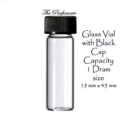 144 Pcs. 1 Gross Clear 1 Dram Glass Vials With Black Caps 15mm X 45mm