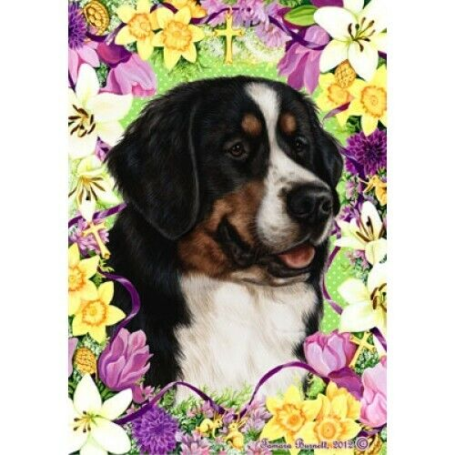 Easter House Flag - Bernese Mountain Dog 33058