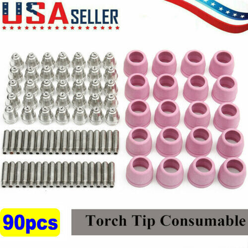 90pcs Plasma Cutter Torch Consumables Nozzle Electrode Kit Cutting Tool For AG60