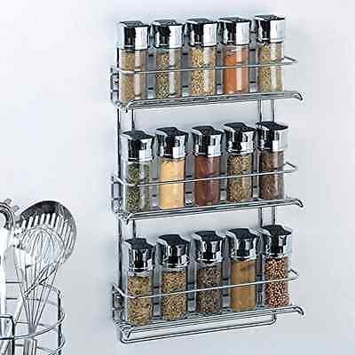 New 3 Tier Chrome Kitchen Spice Rack Mount Wall Cabinet Shelf Organizer Storage