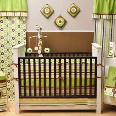 Bacati 10 PC Baby Crib Set Green Mod Dots & Stripes Boys Girls Nursery Bedding  Stripes Crib Baby Bedding