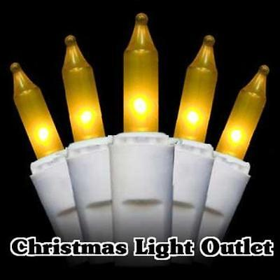 50 Mini Gold/Yellow Outdoor Christmas Party Incandescent Light 14ft White String