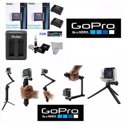 Battery for GoPro HD Heroine4 Black & Silver 2PCS + Dual Charger + BRACKET TRIPOD