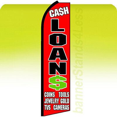 Cash Loans Swooper Flag Feather Flutter Banner Sign 11 5 Tall   Rq