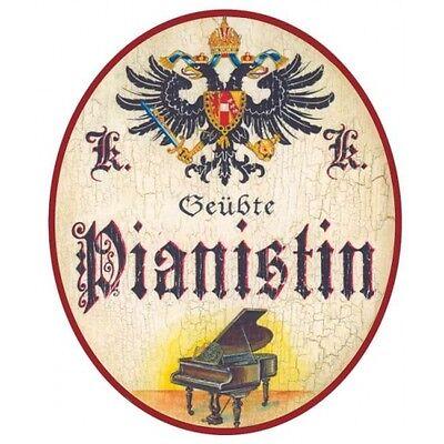 Pianistin Nostalgieschild