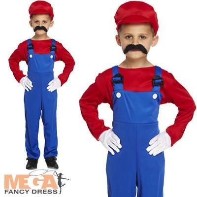 Super Mario Red Workman Boys Fancy Dress Cartoon Game Kids Childs 1980s Costume