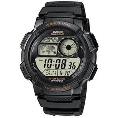 Casio Digital Men's Watch, 100M, 5 Alarms, Chronograph, Resin, AE1000W-1AV