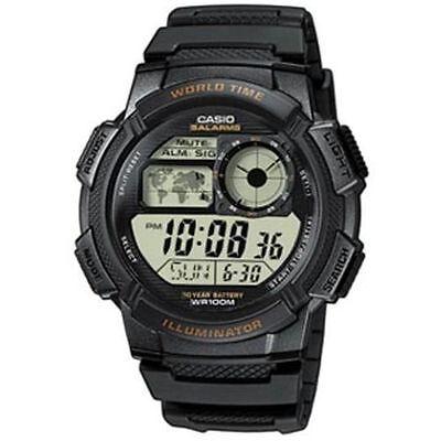 Casio Digital Men's Watch, 100M, 5 Alarms, Chronograph, Resin, AE1000W-1AV