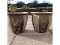 Twin Green pattern Planter Pots
