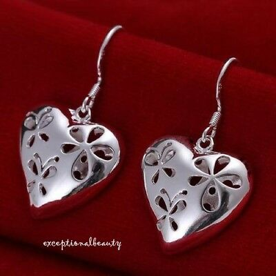 925 Sterling Silver Hollow Heart Bead Charms French Earrings Valentines Day Love
