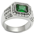 Silver Emerald Solitaire Rings for Men