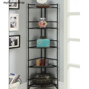 Indoor outdoor metal corner shelf plant stand bookcase 5 tier storage rack black ebay - Corner shelf for plants ...