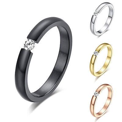 Women's Girls Titanium Steel Rings Rhinestone Wedding Band US Size 6 to 12 Well Fashion Jewelry