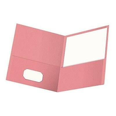 Oxford Twin-pocket Folders Textured Paper Letter Size Pink Holds 100 Sheets
