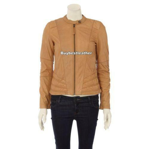Womens Camel Leather Jacket Ebay