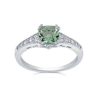 Beautiful 2 Carat Green Princess Cut Ring