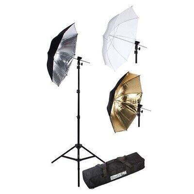 3 Soft Studio Umbrella Stand Kit Flash Reflector Light