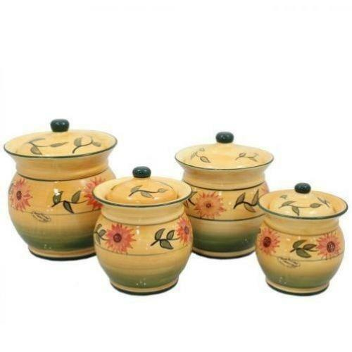 sunflower kitchen canisters ebay signature housewares 3 piece sorrento ruby red ceramic